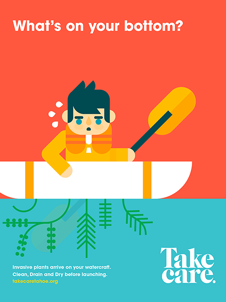 """""""What's on your bottom?"""" A cartoon kayak with invasive weeds."""