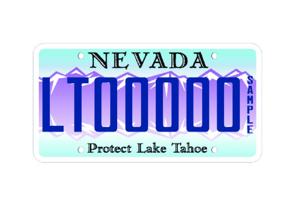 """Nevada License Plate program logo. Image of a license plate that reads"""" Nevada, Protect Lake Tahoe"""""""