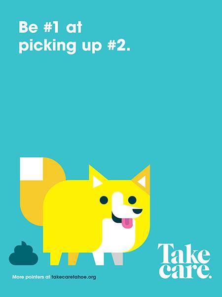 """Be #1 at picking up #2"" A cartoon dog pooping."