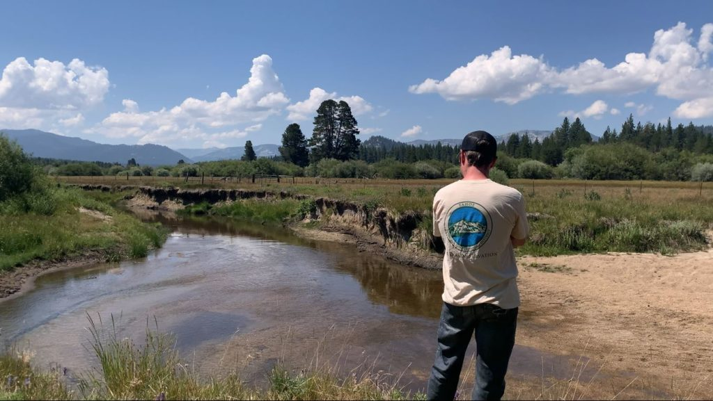 Tahoe RCD staff looking at the river in Johnson Meadow